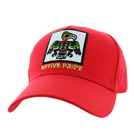 VM604 Native Eagle Cotton Velcro Cap (Solid Red)