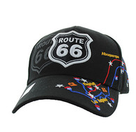 VM214 Route 66 Map Velcro Cap (Solid Black)