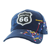 VM214 Route 66 Map Velcro Cap (Solid Navy)