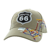 VM214 Route 66 Map Velcro Cap (Solid Khaki)