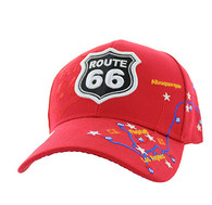 VM214 Route 66 Map Velcro Cap (Solid Red)
