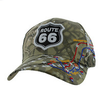 VM214 Route 66 Map Velcro Cap (Solid Hunting Camo)