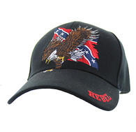 VM516 Rebel Flag Eagle Velcro Cap (Solid Black)