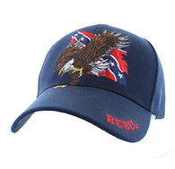 VM516 Rebel Flag Eagle Velcro Cap (Solid Navy)