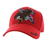 VM516 Rebel Flag Eagle Velcro Cap (Solid Red)