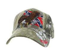 VM516 Rebel Flag Eagle Velcro Cap (Solid Hunting Camo)