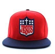 SM594 Jesus Snapback Cap (Red & Navy)