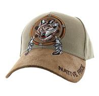 VM669 Native Pride Wolf Velcro Cap (Khaki)