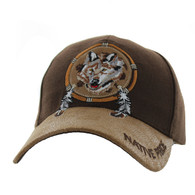 VM669 Native Pride Wolf Velcro Cap (Brown)