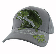 VM207 Big Bass Outdoor Sports  Velcro Cap (Solid Light Grey)