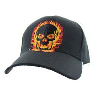 VM132 Skull Velcro Cap (Solid Black)