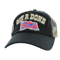 BM676 Git R Done Rebel Buckle Cap (Black & Hunting Camo)