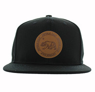 SM523 Cali Bear Cotton Snapback (Solid Black)