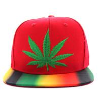 SM276 Marijuana Cotton Snapback Cap (Red)