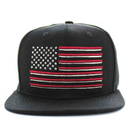SM367 USA Flag Cotton Snapback Cap (Black & Black)