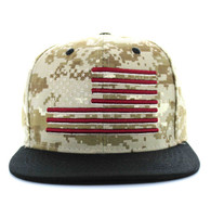 SM367 USA Flag Cotton Snapback Cap (Digital Camo & Black)