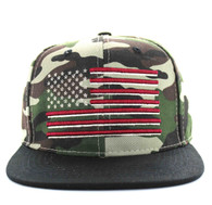 SM367 USA Flag Cotton Snapback Cap (Military Camo & Black)