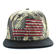 SM367 USA Flag Cotton Snapback Cap (Hunting Camo & Black)