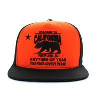 SM664 California Bear Cotton Snapback (Orange & Black)