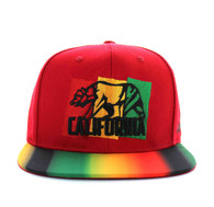SM666 California Bear Cotton Snapback (Red)