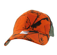 VP022 Blank Mesh Back Trucker Velcro Cap (Solid Orange Hunting Camo)