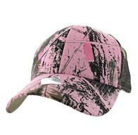 VP022 Blank Mesh Back Trucker Velcro Cap (Solid Pink Hunting Camo)