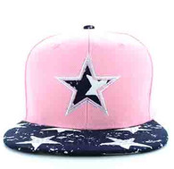 SM660 Star Snapback Cap (Light Pink & Print)