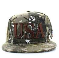 SM690 USA Snapback Cap (Solid Hunting Camo)
