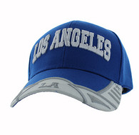 VM421 Los Angeles City Velcro Cap (Royal & White)