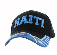 VM421 Haiti Country Velcro Cap (Black & Sky Blue)
