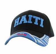 VM421 Haiti Country Velcro Cap (Black & Sky Blue)