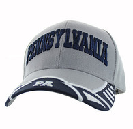 VM421 Pennsylvania State Velcro Cap (Light Grey & Black)