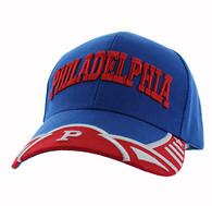 VM421 Philadelphia City Velcro Cap (Royal & Red)