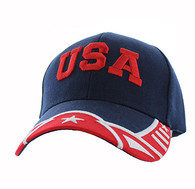 VM421 American USA Country Velcro Cap (Navy & Red)