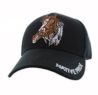 VM657Native Pride Horse Velcro Cap (Solid Black)