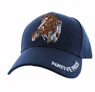 VM657 Native Pride Horse Velcro Cap (Solid Navy)