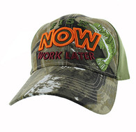 "VM195 ""FISH NOW WORK LATER"" Velcro Cap (Hunting Camo & Olive)"