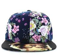 SM320 Marilyn Monroe Two Tone Snapback Cap (Flower & Black)
