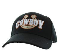 VM002 Cowboy Velcro Cap (Solid Black)