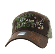 VM991 Shut Up and Hunt Velcro Cap (Brown & Hunting Camo)
