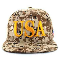 SM690 USA Snapback Cap (Solid Digital Light Brown Camo)