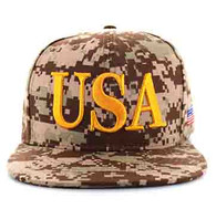 SM690 USA Snapback Cap (Solid Digital Dark Brown Camo)