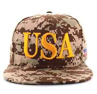 SM690 USA Snapback Cap (Solid Digital Dark Brown Camo)