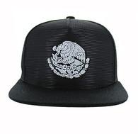 SM642 Mexico Mesh Snapback Cap (Solid Black)