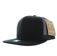 SP029 Plain Cotton Mesh Trucker Cap (Solid Black)