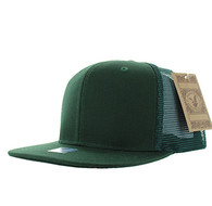 SP029 Plain Cotton Mesh Trucker Cap (Solid Dark Green)
