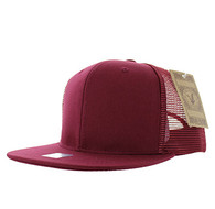 SP029 Plain Cotton Mesh Trucker Cap (Solid Burgundy)
