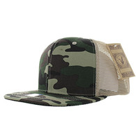 SP029 Plain Cotton Mesh Trucker Cap (Military Camo)