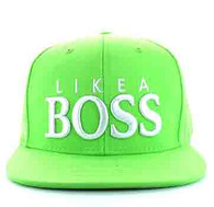 "SM356 ""LIKE A BOSS "" Cotton Snapback (Solid Lime - White)"