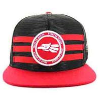 SM686 Mexico Mesh Snapback Cap (Black & Red)